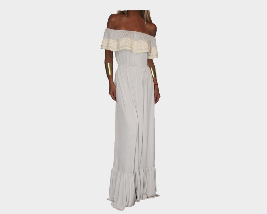 Bisque Beige Off Shoulder Ruffle Lace Dress - The Monaco