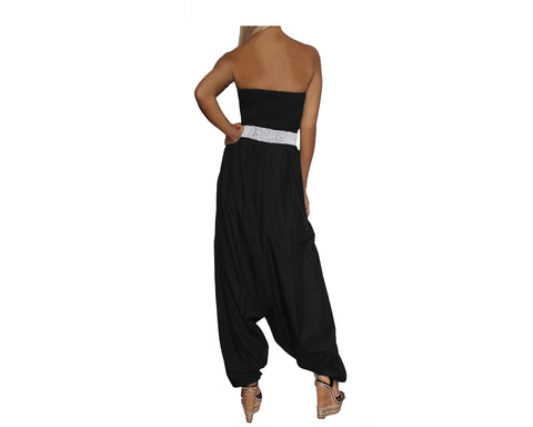 Black Strapless Jumpsuit- The Park Avenue