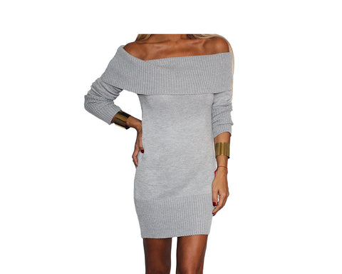 Black Knit Off the Shoulder Dress - The St. Moritz
