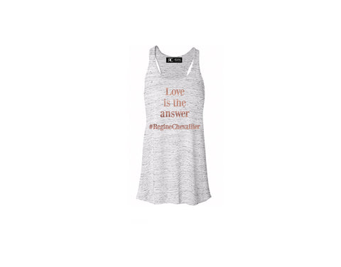 Heather Gray Racerback Tank Top - LOVE IS THE ANSWER