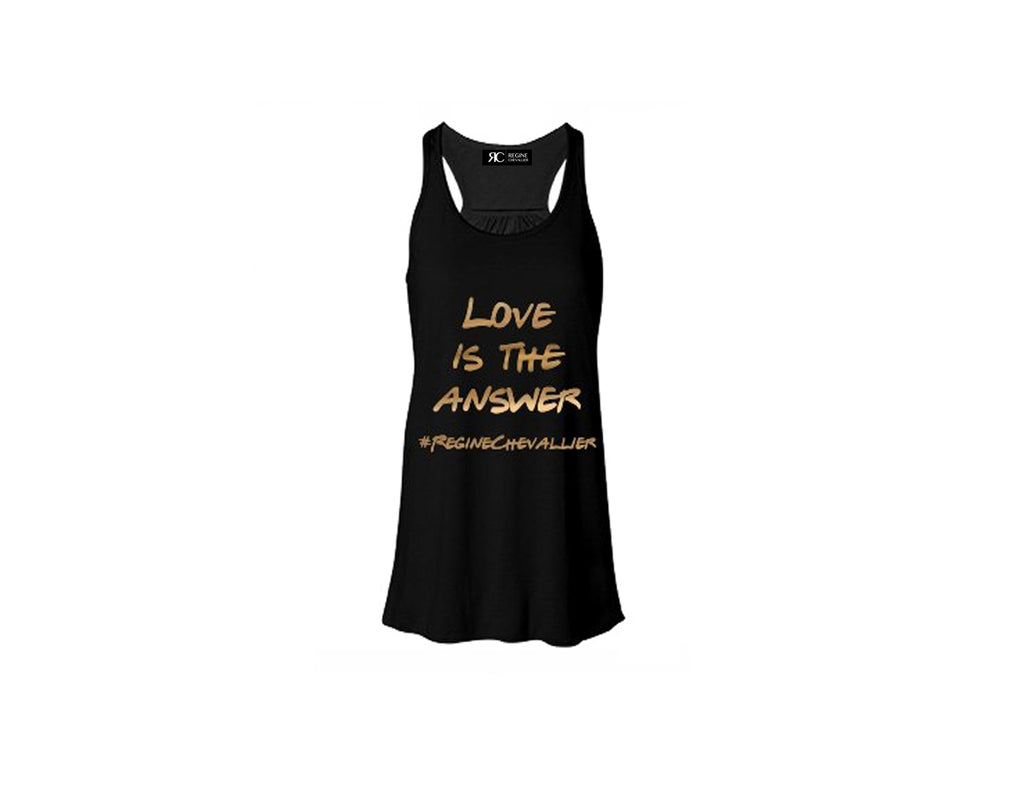 Black Racerback Tank Top - LOVE IS THE ANSWER