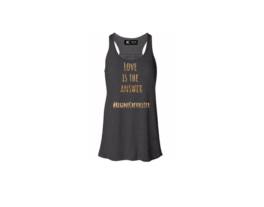 Dark Gray Racerback Tank Top - LOVE IS THE ANSWER