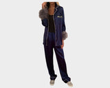 Contemporary Navy Blue Organic silk Faux-Fur loungewear - The Palm Springs