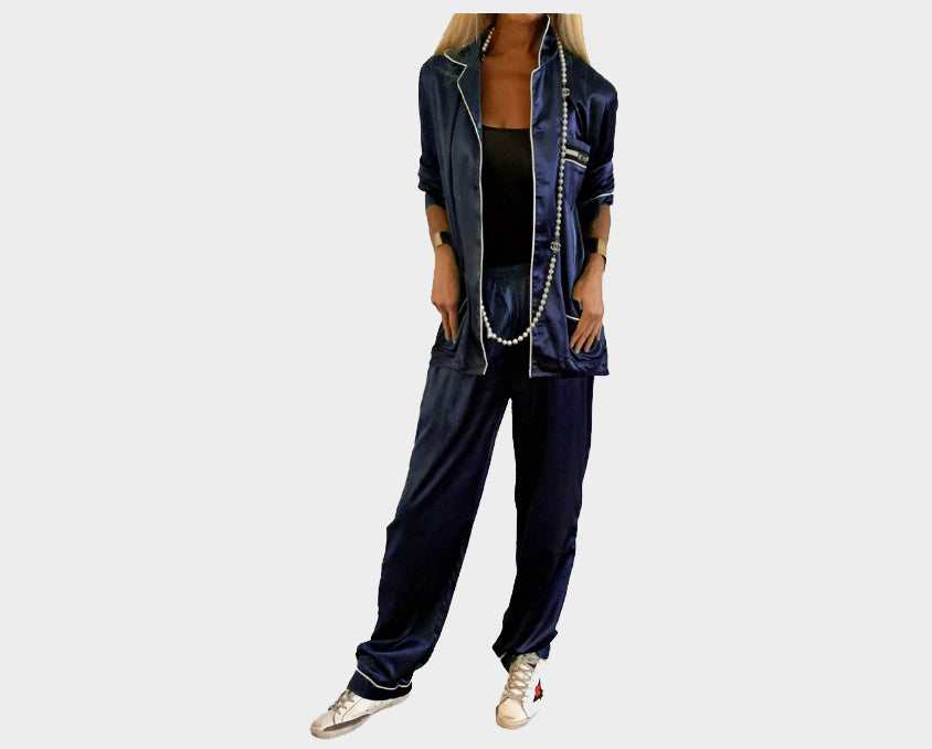 Contemporary Navy Blue Organic silk loungewear - The Palm Springs