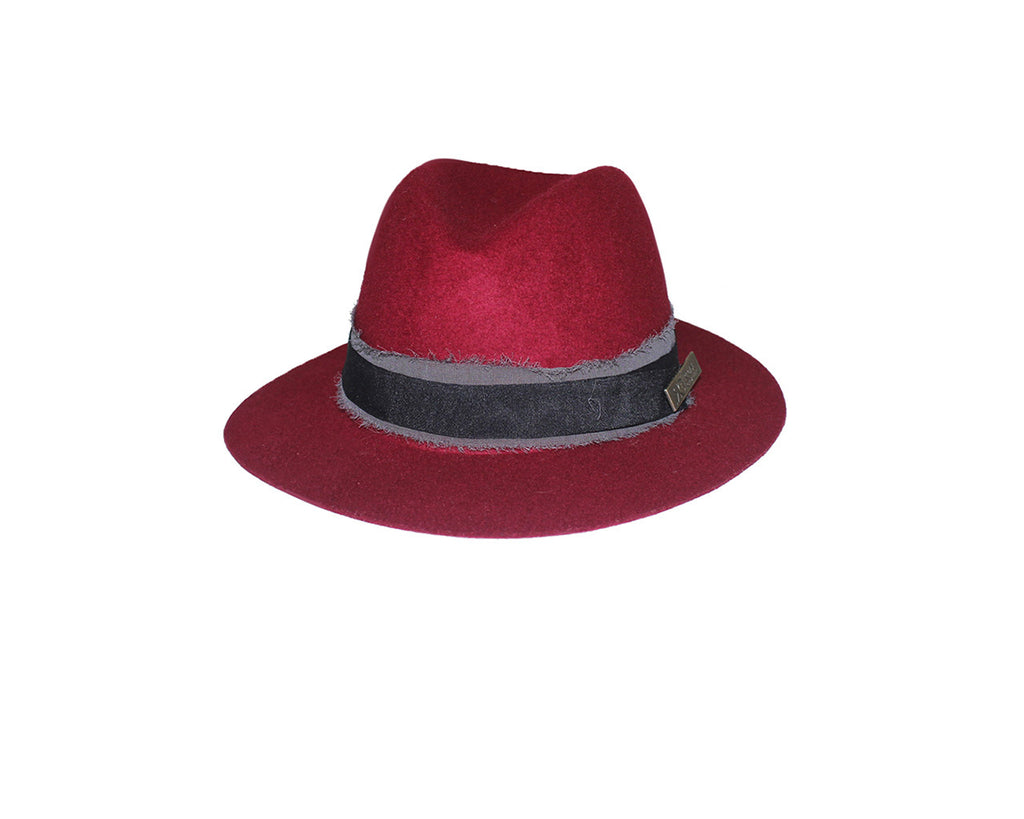 7. Red Felt Fedora Style Hat - The Rue Pont Des Arts