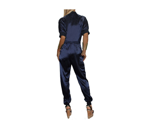 Midnight Blue Silky Jumpsuit - The Rodeo Drive