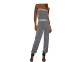 Whispering gray & Silver strapless Jumpsuit - The Corso Venezia