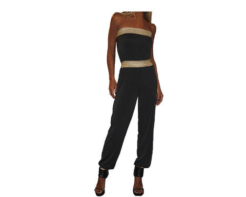 Black and gold strapless Jumpsuit - The Corso Venezia