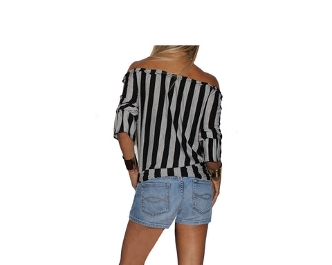 Black & Heather Gray Stripe Off -Shoulder Top - The Ibiza