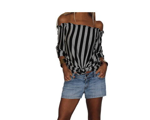 Yellow and White Stripe Off Shoulder Top - The Ibiza
