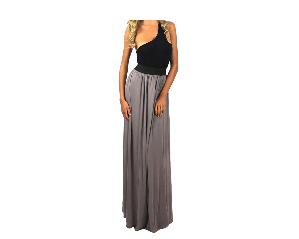 Black and taupe long dress - The Cannes