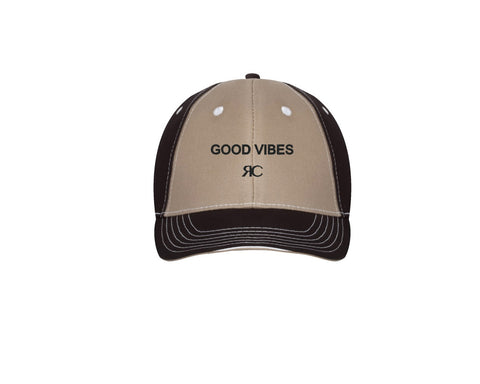 GOOD VIBES - Taupe & Black Baseball Cap - Unisex