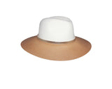 Beige & white 100% Wool Panama Style Hat - The Park Avenue