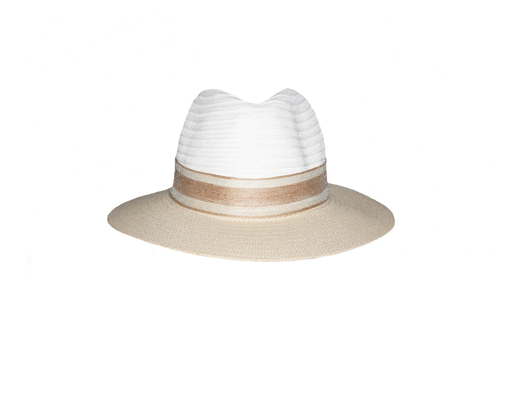 Beige and White Sun Hat - The St. Barth