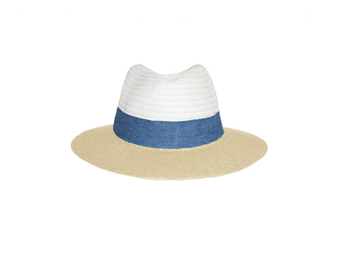 Beige & White Fedora Style Sun Hat - The Hamptons