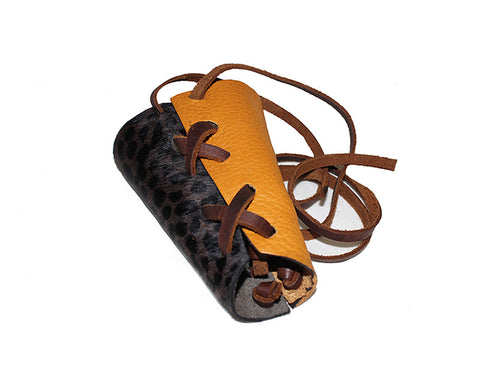 Leopard Print & Mustard Leather Two-Tone Wrap Cuff - The Rodeo Drive