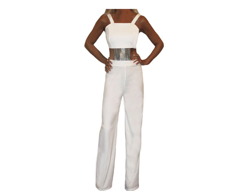 Pale Sage and Tuscan Sun Two-color Jumpsuit   - The Milan