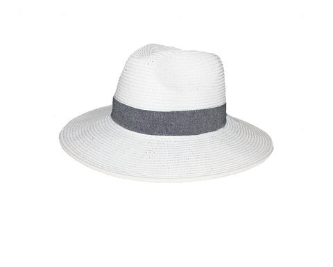 Denim Brim White Panama Style Hat - The Cannes