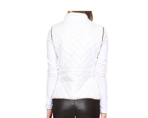Quilted Vest - White - The Aspen