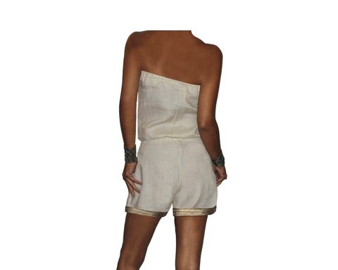 Dusty cream 100% linen jumpsuit- The Milano