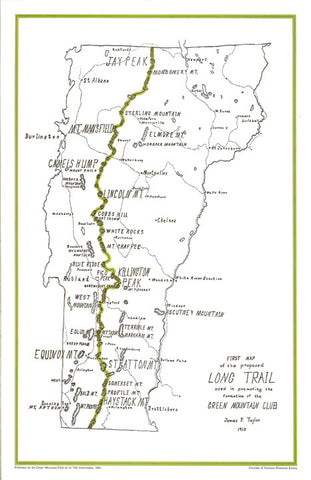 Historic James P. Taylor Long Trail Map Print – Green Mountain Club