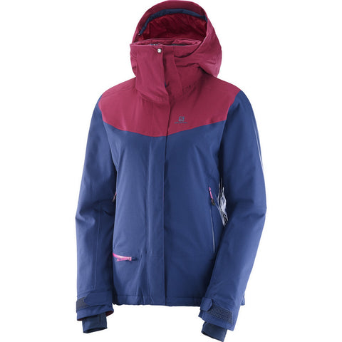 Salomon QST Snow Women's Hooded Insulated Ski / Snowboard Jacket - Blue