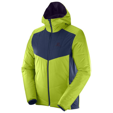 Salomon Drifter Mid Hoodie Men's Primaloft Puffy Jacket - Reversible / Lime