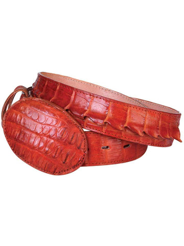 002627 Men's Cowboy Exotic Belt Caiman Tail Cognac