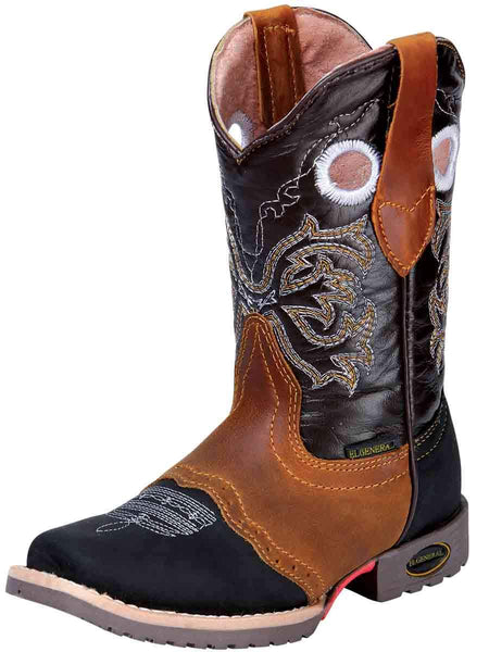 Kid's Rodeo Leather Boot Black/Honey