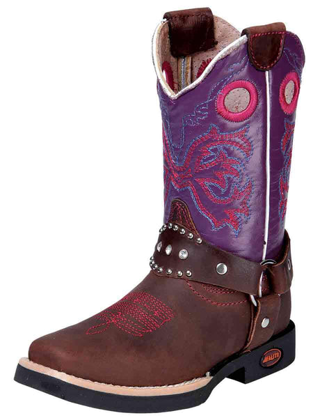 Kid's Rodeo Leather Boot Brown