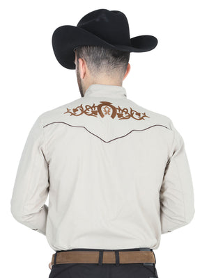 "Charro Shirt El General Khaki "" Camisa Charra color khaki con bordado"""