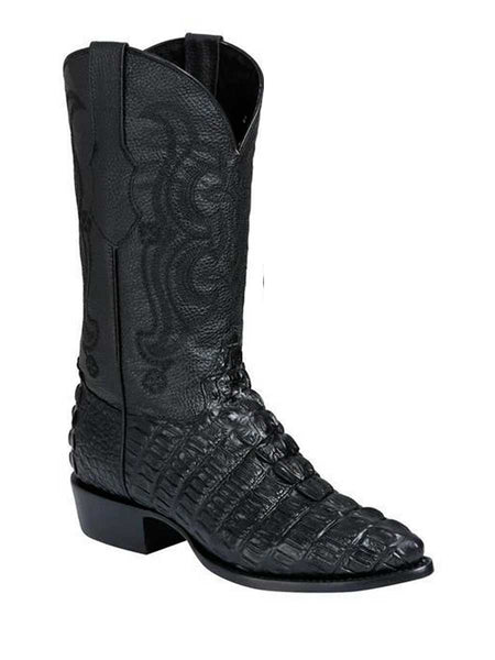Men's Cowboy Imitation Boot El Senor De Los Cielos Caiman Tail Black