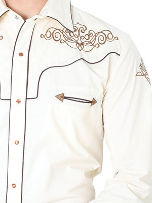 "Camisa Vaquera con Bordado Manga Larga Color Beige ""Western Shirt Embroidery Design Long Sleeve"""