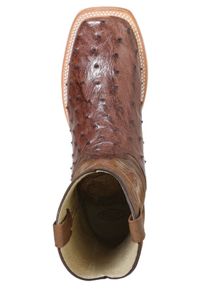 "Men's Rodeo Full Quill Ostrich Brown Square Toe ""Bota Rodeo Original Para Caballero"""