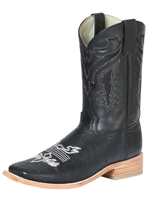 "Men's Rodeo Ostrich Belly Black Square Toe ""Bota Rodeo Original Para Caballero"""