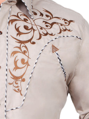 "Camisa Vaquera con Bordado Manga Larga Color Khaki ""Western Shirt Embroidery Design Long Sleeve"""