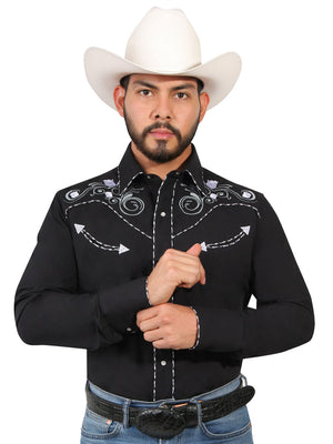 "Camisa Vaquera con Bordado Manga Larga Color Negro ""Western Shirt Embroidery Design Long Sleeve"""