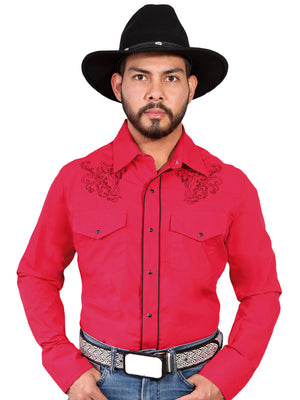 "Camisa Vaquera con Bordado Manga Larga Color Roja ""Western Shirt Embroidery Design Long Sleeve"""