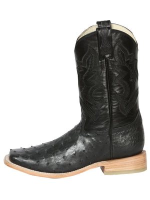 "Men's Rodeo Full Quill Ostrich Black Square Toe ""Bota Rodeo Original Para Caballero"""