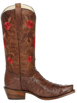 "Women's Full Quill Ostrich Brown Boots Western  / ""Bota Vaquera Exotica Para Dama"""