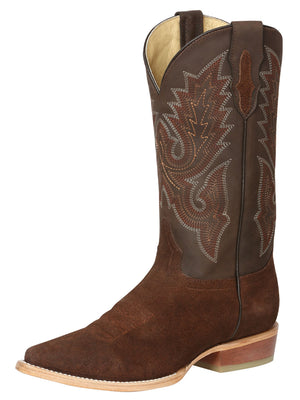 "Men's Cowboy Leather Nobuck Brown Western Boots / ""Bota Vaquera Nobuck Cafe"""