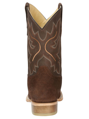 "Men's Rodeo Boot's Leather Nobuck Brown Square Toe / ""Bota Rodeo Piel Gamusa"""