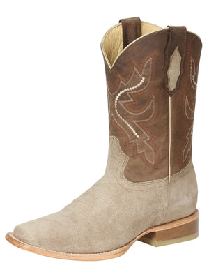 "Men's Rodeo Boot's Leather Nobuck Beige Square Toe / ""Bota Rodeo Piel Gamusa"""