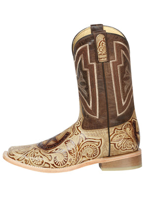 "Men's Rodeo Boot's Leather Beige Square Toe / ""Bota Rodeo Piel Grabado Cincelado """