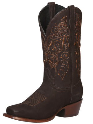 "Women's Leather Nobuck Brown Boots Square Toe / ""Bota Rodeo Para Dama"""