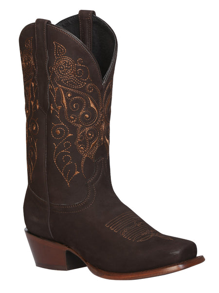 Brown squared toe cowgirl boots
