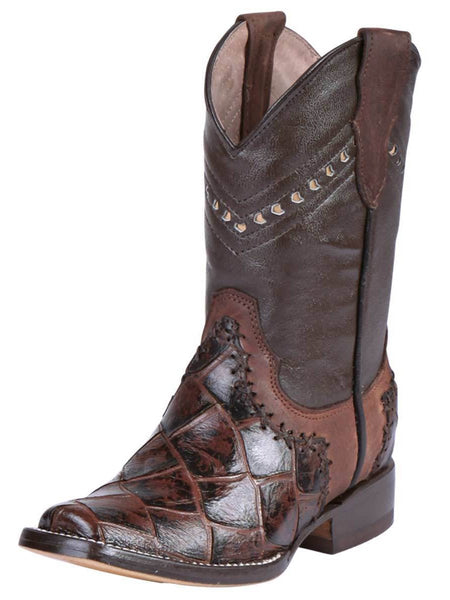Kid's Rodeo Boot Fish Print Brown