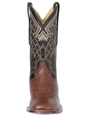"Men's Rodeo Ostrich Belly Brown Square Toe ""Bota Rodeo Original Para Caballero"""