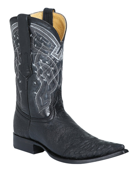 124410 Men's Cowboy Exotic Boot Ostrich Toe Black