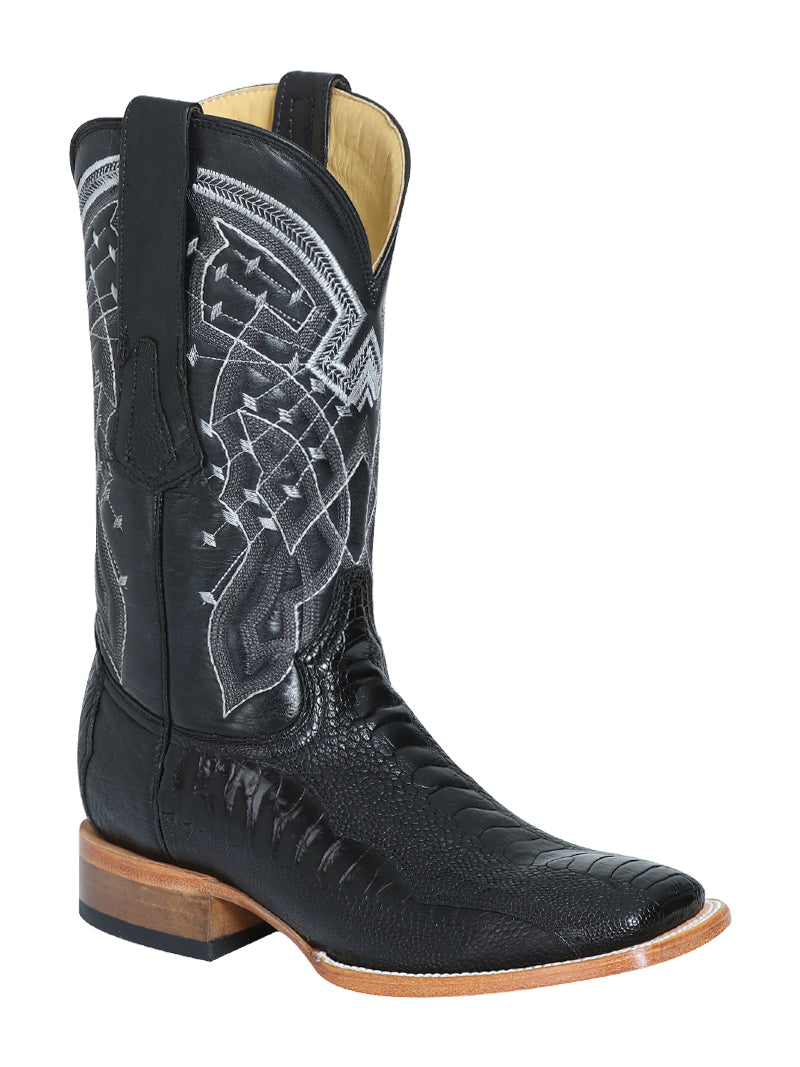 124412 Men's Cowboy Exotic/Ostrich Leg Black